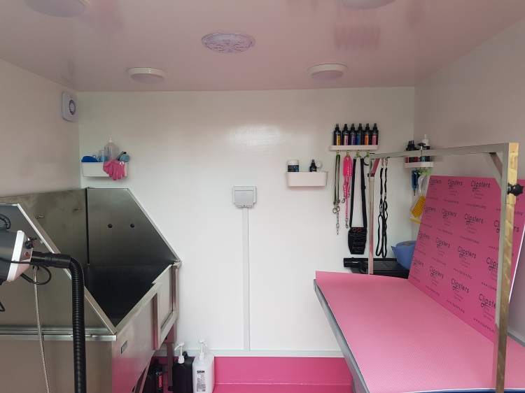 Inside Clipsters dog grooming room
